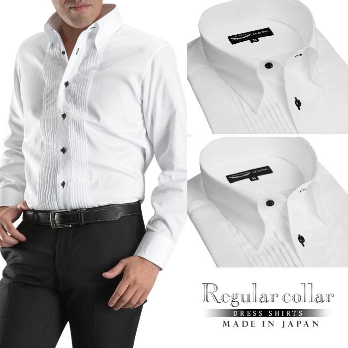 レギュラーカラー スナップダウン ピンタックドレスシャツ ホワイト ワイシャツ 長袖 パーティー 2次会 フォーマル 結婚式 Yシャツ メンズ 日本製 綿100% Le orme