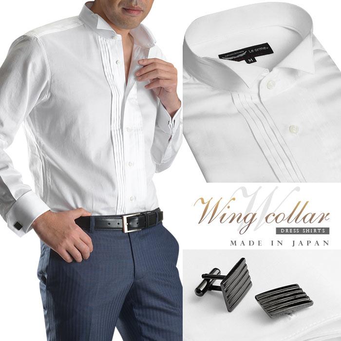 【日本製・綿100%】長袖 ウイングカラー ピンタックメンズドレスシャツ/ホワイト(ダブルカフ