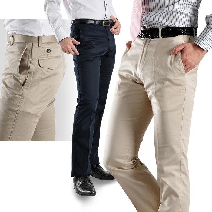 コットンサテン ストレッチ素材・スタイリッシュストレートパンツ(メンズ スラックス 細身 美脚パンツ)【TREBIO】 pants (syobun)