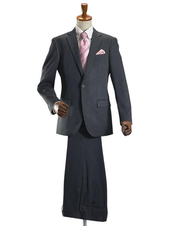 【サイズ限定】スーツ メンズ 2ツボタン ビジネススーツ オールシーズン対応 ナチュラルストレッチ パンツウォッシャブル機能 グレーピンストライプ【送料無料】【スーツハンガー付属】 suit (syobun)