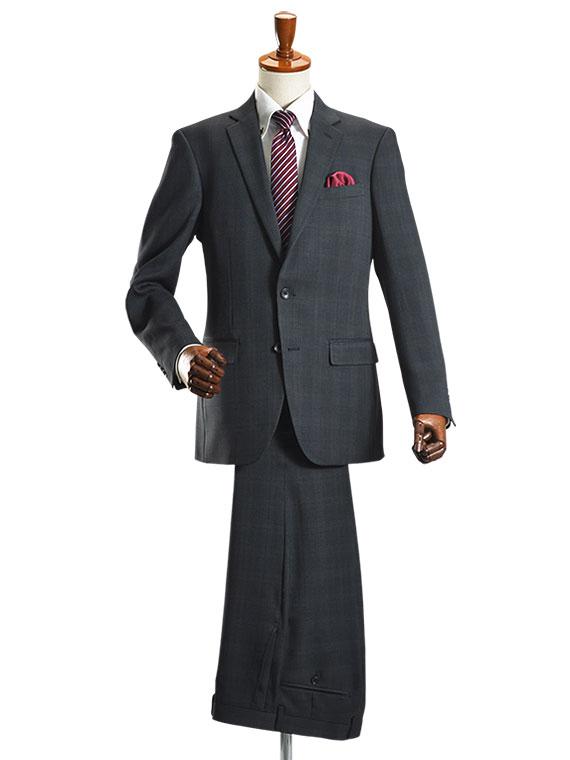 【YA-5号・YA-7号サイズ限定】スーツ メンズ 2ツボタン ビジネススーツ オールシーズン対応 ナチュラルストレッチ パンツウォッシャブル機能 グレーピンチェック【送料無料】【スーツハンガー付属】 suit (syobun)
