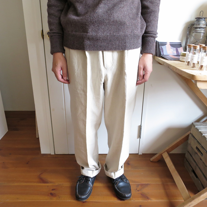 ENDS and MEANS Wool Linen Relax Fit Trousers エンズアンドミーンズ ウール リネン リラックス フィット トラウザー