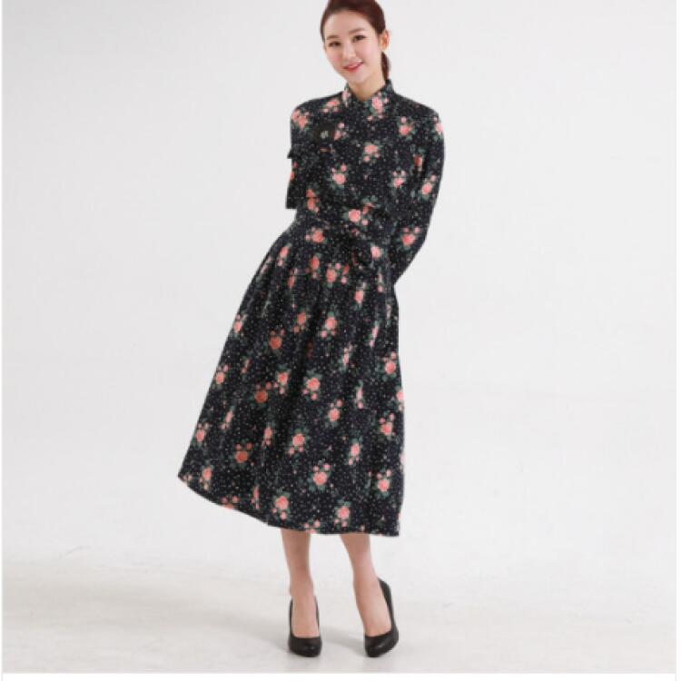 韓服スタイル 花柄 ブラック 期間限定お試し価格 新作アイテム毎日更新 スカート ブラウス
