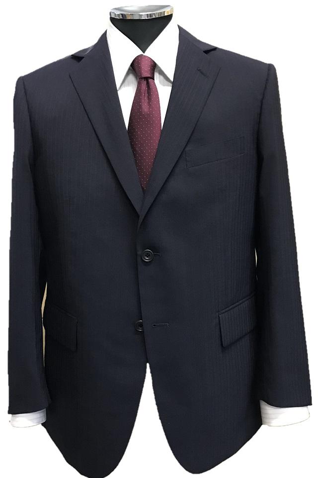 【あす楽】【スタンダード】春夏洗える2ボタン2タックスーツ紺 織り柄 AB体