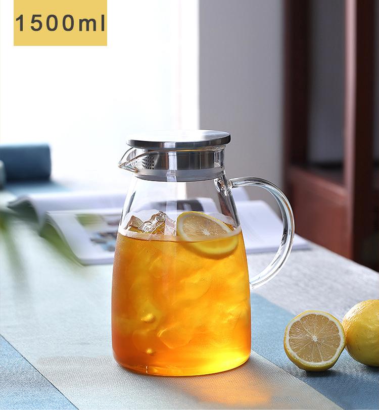 紅茶/ティー/ジュース/おうちカフェ ティー ポット ガラス ピッチャー ガラス ティーポット 耐熱 麦茶 ポット 大容量 ガラス ピッチャー 洗いやすい 冷水筒 冷水ポット 麦茶入れ 水だし 紅茶ポット やかん 北欧