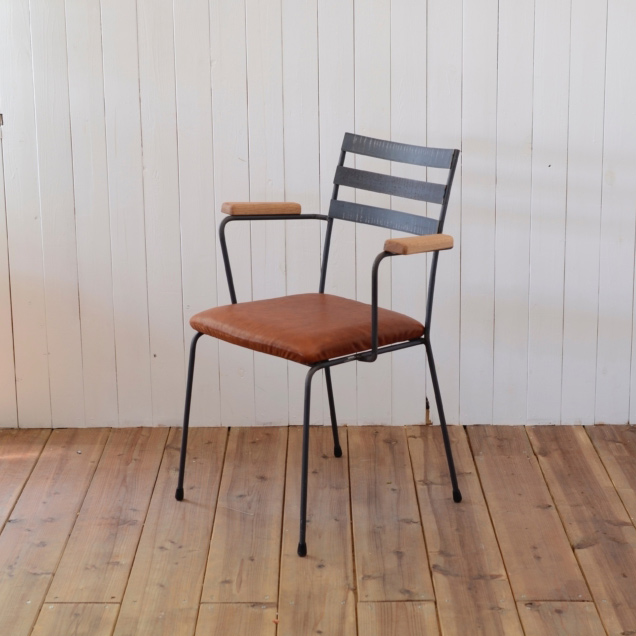 ARM CHAIR type 3 - leather seat × natural OAK arm / アームチェア 背もたれ3本 - レザーシート × ナチュラルオーク アーム