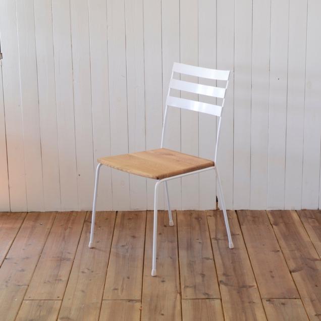 STEEL CHAIR type 3 - OAK seat / スチールチェア 背もたれ3本 - オークシート