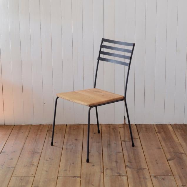 STEEL CHAIR type 4 - OAK seat / スチールチェア 背もたれ4本 - オークシート