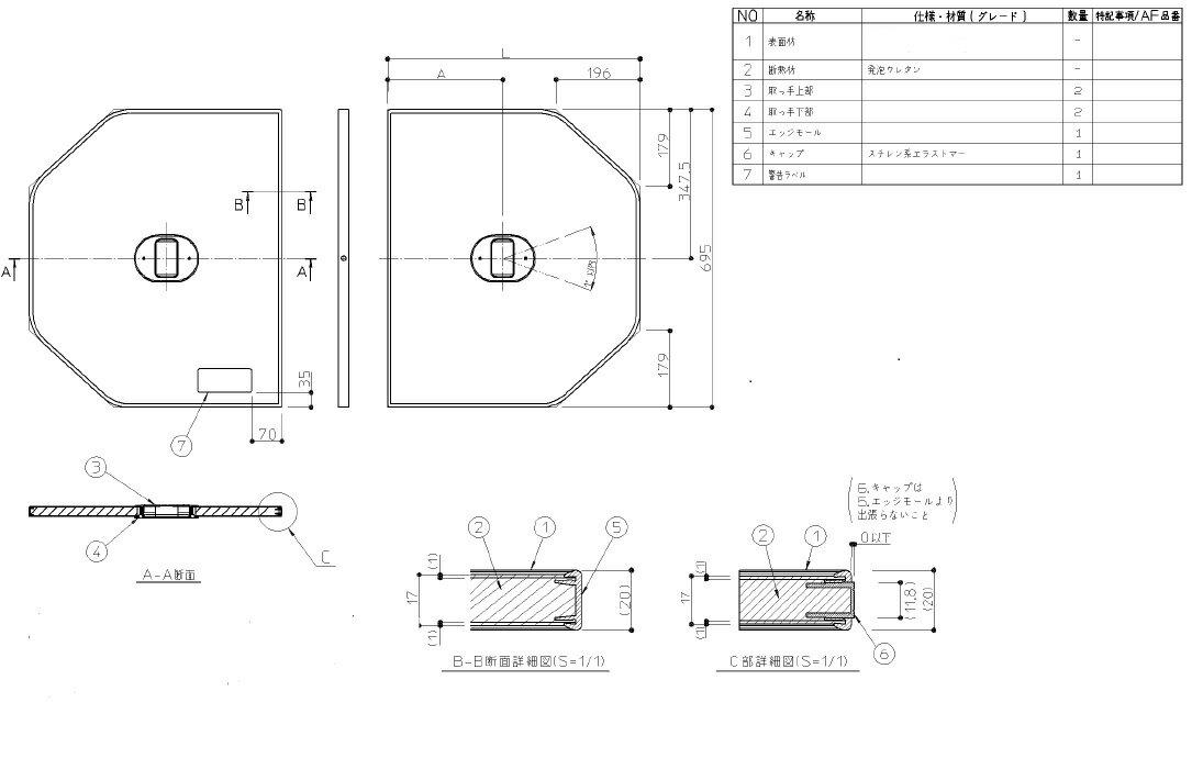 AFKK84105W TOTO 1300トラック浴槽用断熱ふろふた