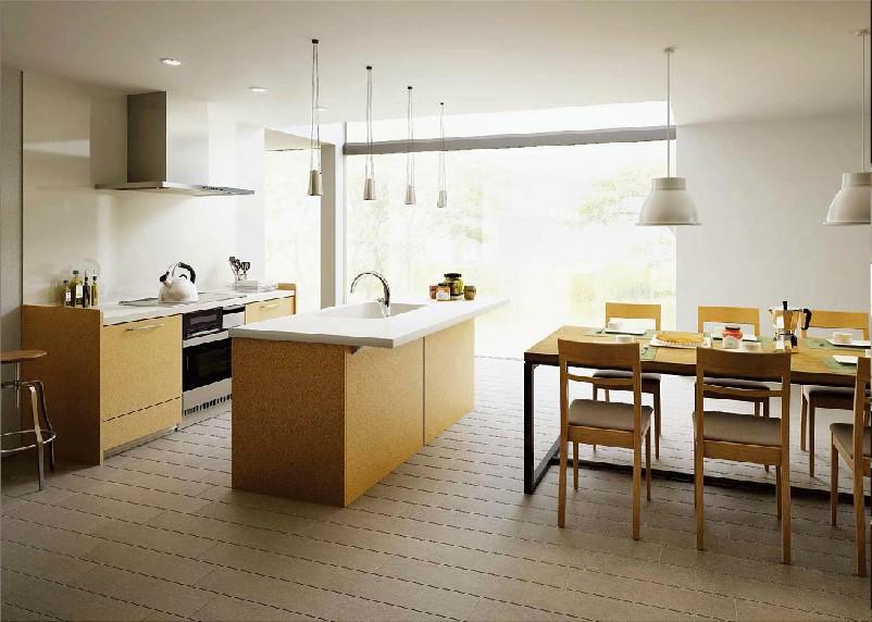 明るい木目を基調としたアイランド型のオープンキッチン