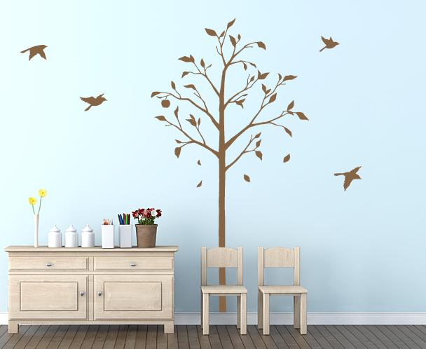 ウォールステッカー 林檎の木と小鳥 Lサイズ 東京ステッカー TS-0051-CL