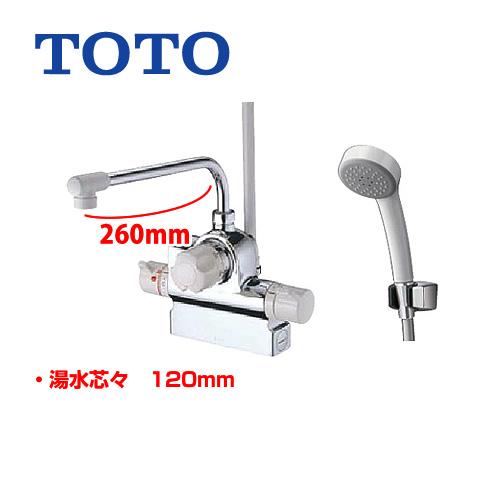 [TMJ48E] TOTO 浴室水栓 サーモスタットシャワー金具 (台付きタイプ) 自動水止め(定量止水) シャワーヘッド:エアイン 【送料無料】 混合水栓 蛇口 シャワー水栓 浴室用 デッキタイプ