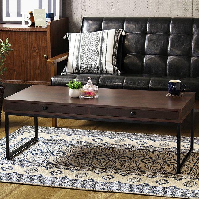 リビングテーブル 引き出し 北欧 レトロモダン テーブル ローテーブル センターテーブル 木製 おしゃれ 収納付き ダークブラウン