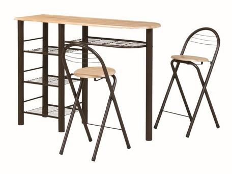 ハイテーブル ダイニング3点セット(収納付き・テーブル高さ88cm) CT-1200