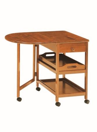 木製バタフライテーブル付きキッチンワゴン KW-415