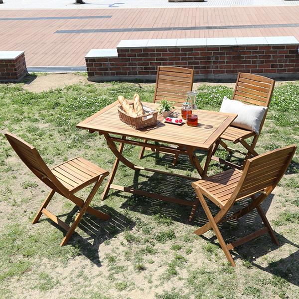 | 折りたたみガーデンテーブル・チェア(5点セット)人気のアカシア材、パラソル使用可能 reino-レイノ-