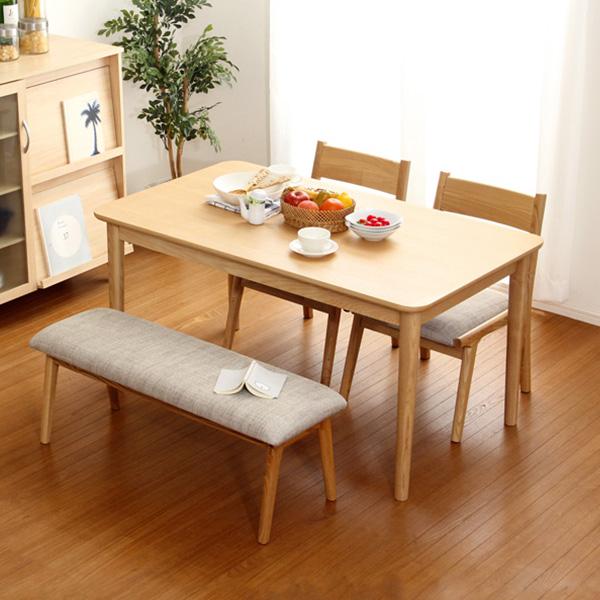 木製アッシュ材|Risum-リスム- ダイニング4点セット(テーブル+チェア2脚+ベンチ)ナチュラルロータイプ