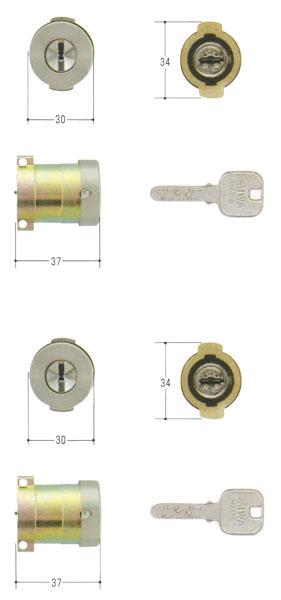 MIWA(美和ロック) JNシリンダー PAタイプ PG571-HS 2個同一セットMCY-494 PA・PASP