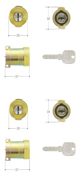 MIWA(美和ロック) JNシリンダー PAタイプ PG571-HS 2個同一セットMCY-495 PA・PASP