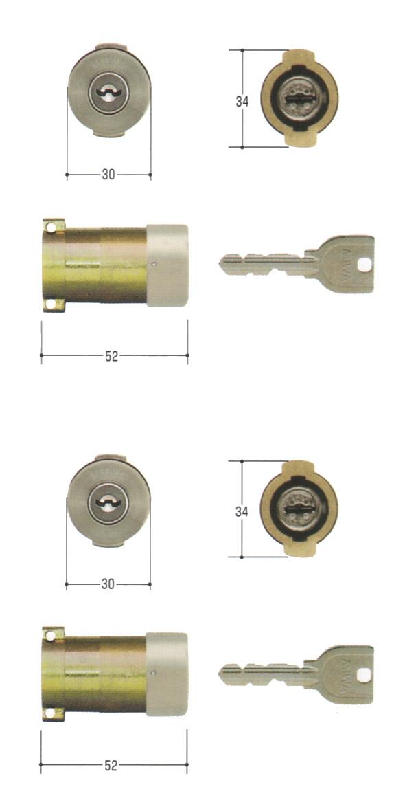 MIWA(美和ロック) U9シリンダー PAタイプ PG701-HS 2個同一セットMCY-484 PA・PASP