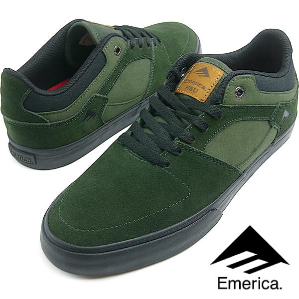 Emerica エメリカ THE HSU LOW VULC (310) GREEN/BLACK メンズ スニーカー スケシュー スケートシューズ