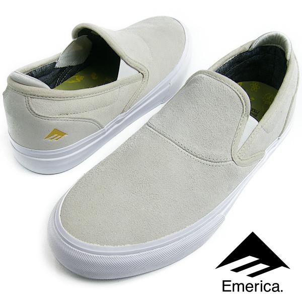 Emerica エメリカ WINO G6 SLIP-ON (102) ワイノ スリッポン WHITE/WHITE メンズ レディース スニーカー スケシュー スケートシューズ