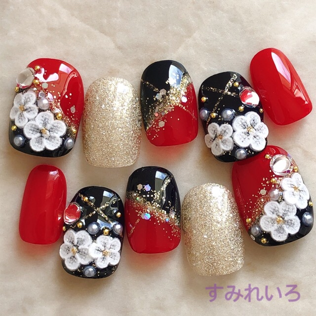 Order nail chips ♪ at chip! Quinceanera and bridal wedding ☆ black,red,gold  flower kimono and furisode, kimono and yukata