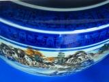 山水火鉢13号 410×H290(6点付火鉢セット)紀州備長炭灰5kg、底ネンド1kg、底石1kg、南部鉄五徳、南部鉄火箸、南部鉄灰慣らし付 山と川がある自然の風景を描いてあります。デザインの美しい座敷大型火鉢です
