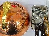ステーキハウス、鉄板焼きセット銅カバー27cm、返し2枚、トング1、オイルバット1、エッグリング2、セット販売鉄板焼きに必要な物の一揃えです
