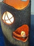 信楽焼あんどん 癒しの灯りたちシリーズ フクロウ灯り(夕暮れのふくろう) 国産浄水竹炭5枚付