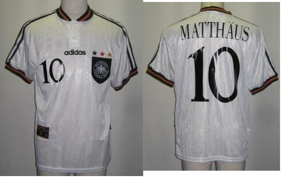 アディダス 097873 1996-97 ドイツ代表. ホーム 10番 マテウス付 レプリカ ゲームシャツ 半袖