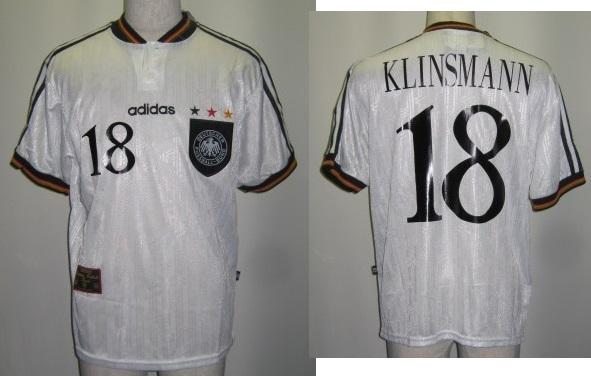 アディダス 097873 1996-97 ドイツ代表. ホーム 18番 クリンスマン付 レプリカ ゲームシャツ 半袖