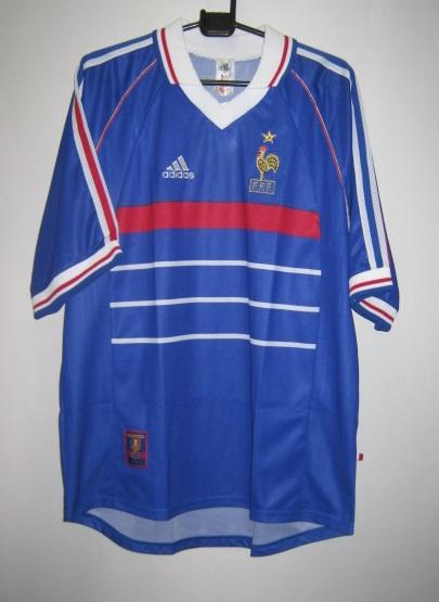 アディダス 614310 1998-99 1つ星 フランス ホーム レプリカ ホーム ゲームシャツ 半袖