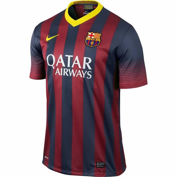 ナイキ NIKE-532822-413 2013-14 バルセロナ FCB DF 半袖 ホーム レプリカ ゲームシャツ