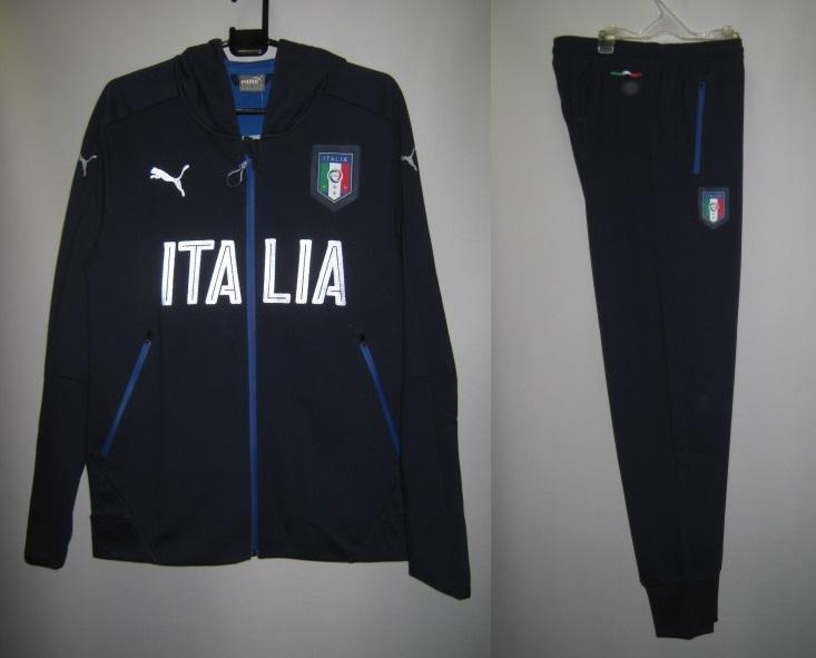 プーマ 2016-17 748587-748589-05 イタリア FIGC ITALIA カジュアル パフォーマンス フーデット ジャケット・パンツ 上下セット