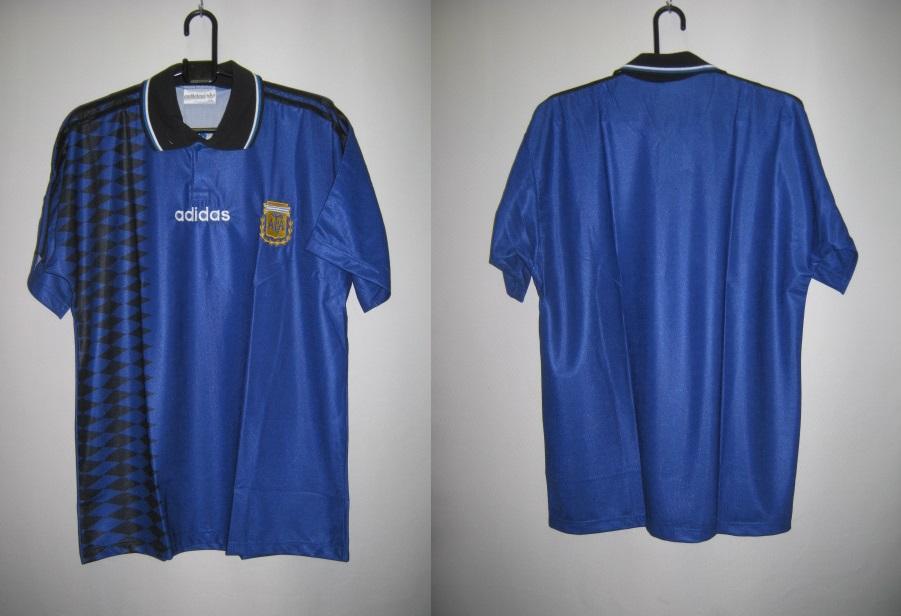 アディダス 1994-95 アルゼンチン アウェイ レプリカ ユニフォーム 半袖 ゲーム シャツ
