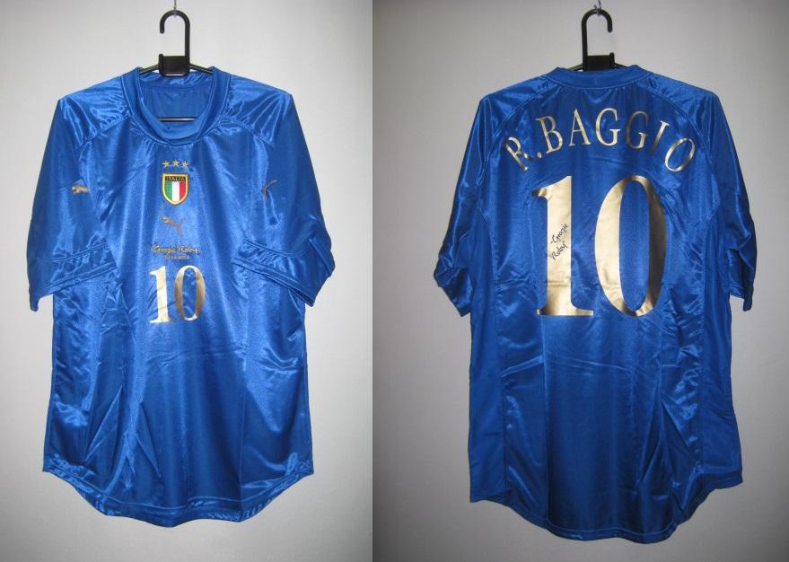レジェンド プーマ 2004 イタリア ネーム・ナンバー付 10番 バッジオ ホーム 半袖 レプリカ ゲーム シャツ 代表 引退 モデル