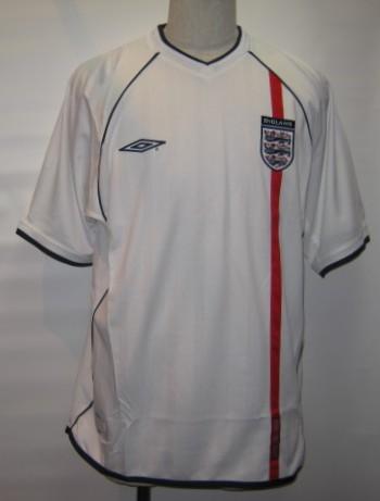 アンブロ 2001-02 イングランド ホーム 半袖 レプリカ ゲームシャツ