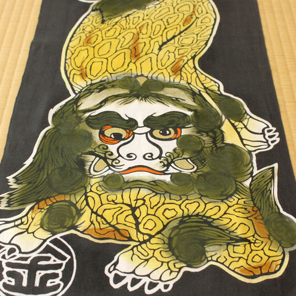 Hama info high made of Tiger note decontamination towel luck komainu ~ KINUNKOMAINU ~ * picture frames are sold separately * hand towel, washcloth, Tenugui, TENUGUI and Japanese towel and washcloth, facecloth and present and souvenir and gift and present