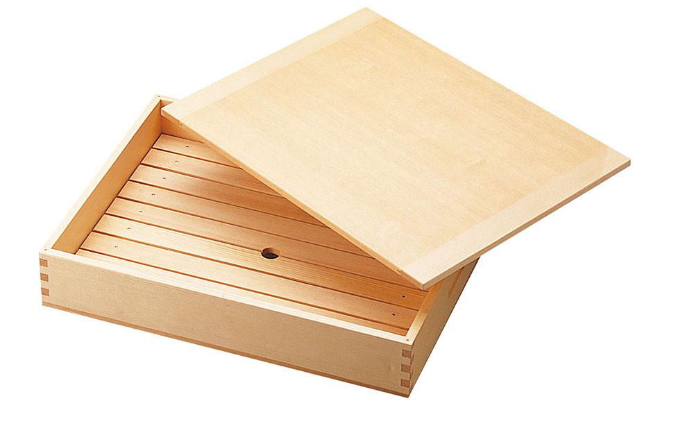 【送料無料】抜き板 抜板 ネタ箱 ネタ箱(中)目皿・木製蓋付 約37.5x29xH7.7cm