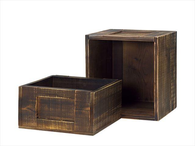昔懐かしい古民家をイメージし 素朴で温かな什器を作りました 本物 ほんのりと艶を感じる色や 少し無骨な手触りは 長い年月を経て囲炉裏のすすが作り出す深みのある艶を表現しています 買収 ダークブラウン 大 杉 木箱