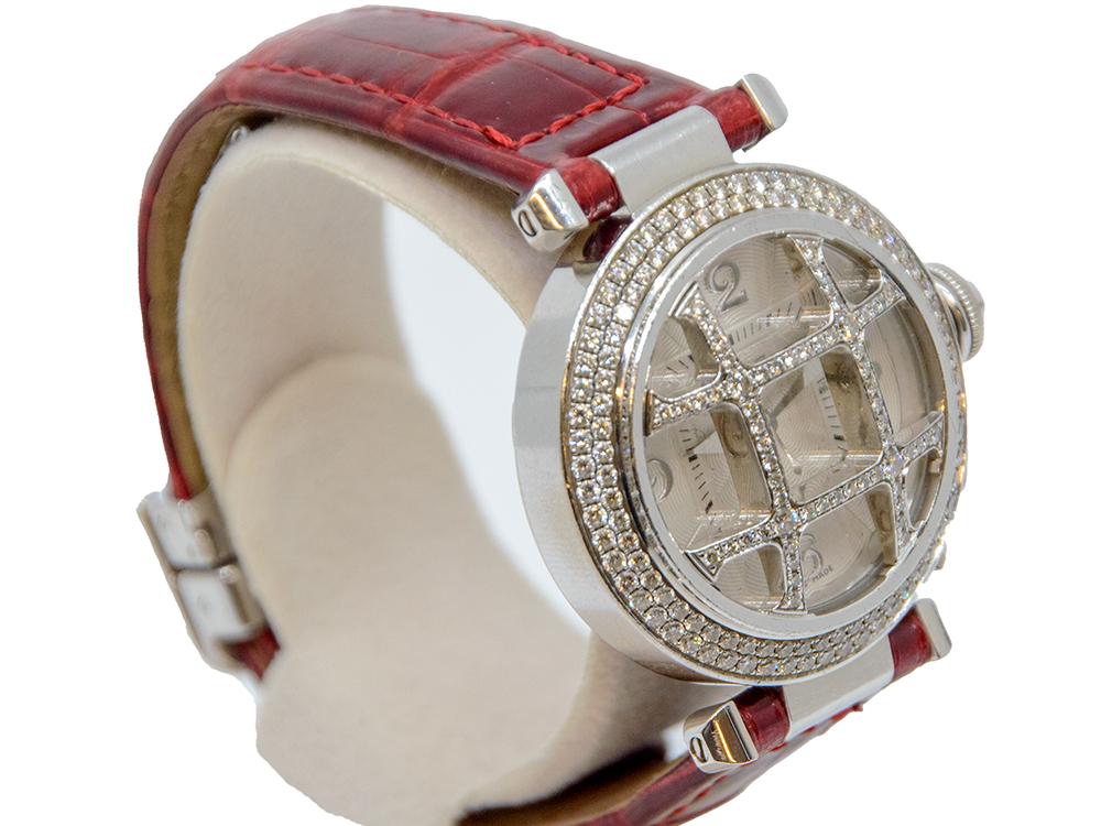 割り引き Cartier カルティエ パシャグリッド ホワイトゴールド 中古 祝開店大放出セール開催中 32mm ブランドギャラリー東心斎橋店 レディース クロコ ダイヤ 腕時計