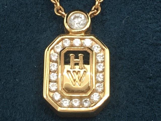 【ブランドギャラリー心斎橋店】[中古]HARRY WINSTONHWロゴ イエローゴールド ダイヤモンドペンダント バイ ハリー・ウィンストン