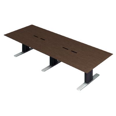 PLUS (プラス) 会議テーブル XF EXECUTIVE (エクセフ エグゼクティブ) XL-3212KZ AW メラミン樹脂化粧板:ウォールナット 【幅3200mm×奥行1200mm×高さ720mm】