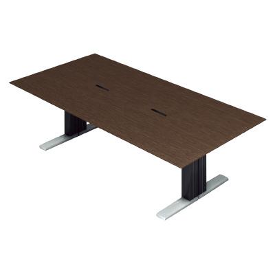 PLUS (プラス) 会議テーブル XF EXECUTIVE (エクセフ エグゼクティブ) XL-2412KZ AW メラミン樹脂化粧板:ウォールナット 【幅2400mm×奥行1200mm×高さ720mm】