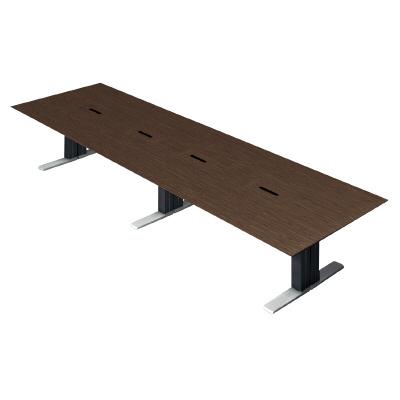 プラス 会議テーブル XF EXECUTIVE (エクセフ エグゼクティブ) XL-4012KZ AW メラミン樹脂化粧板:ウォールナット 【幅4000mm×奥行1200mm×高さ720mm】