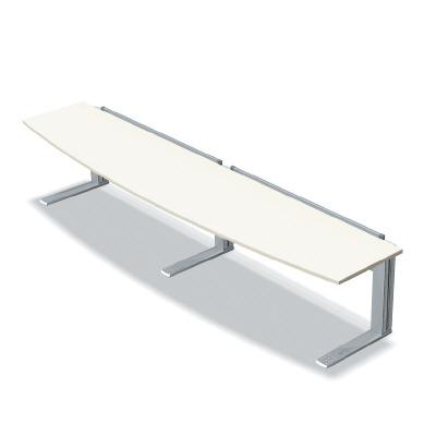 プラス 会議テーブル XF TYPE L (エクセフ タイプエル) XL-368R W4/M4 【天版R型タイプ】【天板カラー:ホワイト、脚カラー:シルバー】【幅3600mm×奥行800mm×高さ725mm】