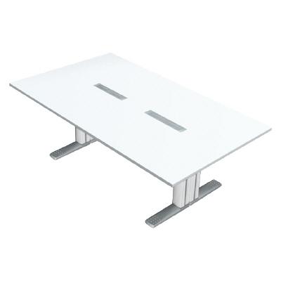 プラス 会議テーブル XF TYPE L (エクセフ タイプエル) XL-2412KG W4/W4 【ミーティングテーブル】【天板カラー:ホワイト、脚カラー:ホワイト】【幅2400mm×奥行1200mm×高さ720mm】