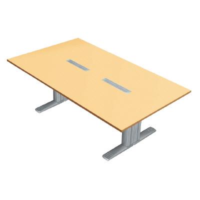 PLUS (プラス) 会議テーブル XF TYPE L (エクセフ タイプエル) XL-2412KG WM/M4 【ミーティングテーブル】【天板カラー:ホワイトメープル、脚カラー:シルバー】【幅2400mm×奥行1200mm×高さ720mm】