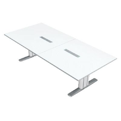 PLUS (プラス) 会議テーブル XF TYPE L (エクセフ タイプエル) XL-2812KG W4/W4 【ミーティングテーブル】【天板カラー:ホワイト、脚カラー:ホワイト】【幅2800mm×奥行1200mm×高さ720mm】